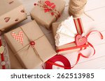 beautiful gift box on wooden... | Shutterstock . vector #262513985