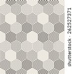 Vector seamless pattern. Modern stylish texture. Repeating geometric tiles with filled with dots hexagons. Regular hipster background. Small circles form hexagonal minimalistic ornament.