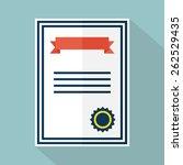 certificate icon. flat design.... | Shutterstock .eps vector #262529435