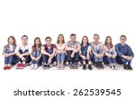 young teen group sitting.... | Shutterstock . vector #262539545