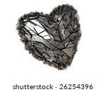 abstract 3d illustration of metal heart over white background - stock photo