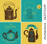set of labels on theme tea. tea ... | Shutterstock .eps vector #262572149