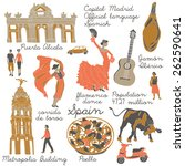 spain   landmarks and symbols... | Shutterstock .eps vector #262590641