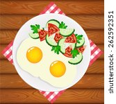 freshly cooked two eggs with...   Shutterstock .eps vector #262592351