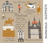 madrid landmarks and monuments | Shutterstock .eps vector #262595375