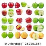 set of apple on a white... | Shutterstock . vector #262601864