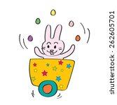 pink easter rabbit juggler | Shutterstock .eps vector #262605701