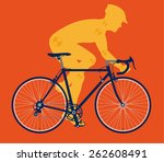 a male bicyclist riding a... | Shutterstock .eps vector #262608491