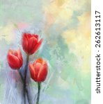 Red Tulip Flowers Painting...