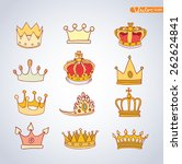 princess crown set  hand drawn... | Shutterstock .eps vector #262624841