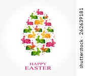 easter egg with rabbits | Shutterstock .eps vector #262639181