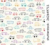 cars doodles seamless  | Shutterstock .eps vector #262649711