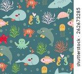 seamless submarine background... | Shutterstock .eps vector #262673285