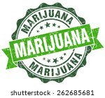 marijuana green vintage seal...   Shutterstock . vector #262685681