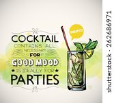 hand drawn poster with cocktail ... | Shutterstock .eps vector #262686971