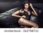 portrait of a brunette slim...   Shutterstock . vector #262708721