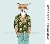 Fox Dressed Up In Aloha Shirt