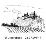 ink contour drawn of tuscany... | Shutterstock .eps vector #262719947