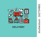 flat line icons set of delivery.... | Shutterstock .eps vector #262734881