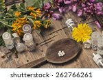 bottles with homeopathy...   Shutterstock . vector #262766261