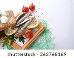 sardines on slice bread | Shutterstock . vector #262768169