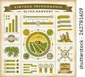 vintage olive harvest... | Shutterstock .eps vector #262781609