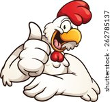 Cartoon Chicken Giving The...