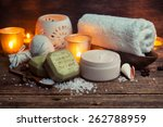 body lotion  soap and towel on... | Shutterstock . vector #262788959