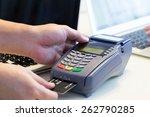 hand swiping credit card in... | Shutterstock . vector #262790285