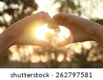 Silhouette Hand In Heart Shape...