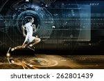 young running man against... | Shutterstock . vector #262801439