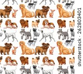 seamless different kinds of dogs | Shutterstock .eps vector #262803401