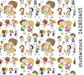 seamless children in different... | Shutterstock .eps vector #262803605