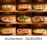 collage of various pizza  | Shutterstock . vector #262810001