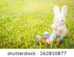 sugar rabbit and easter eggs on ... | Shutterstock . vector #262810877