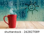 Red Coffee Cup With Smoke And...