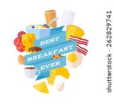 breakfast icons with ribbon... | Shutterstock .eps vector #262829741