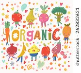 sweet organic concept card with ... | Shutterstock .eps vector #262832621