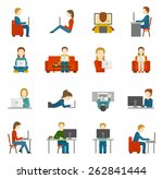 people working on computer and... | Shutterstock .eps vector #262841444