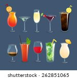Alcohol drinks and cocktails in glasses decorative icons set isolated vector illustration | Shutterstock vector #262851065
