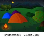 camping in the meadow at night | Shutterstock .eps vector #262852181