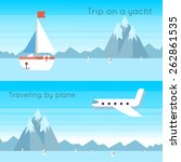 traveling on airplane and yacht.... | Shutterstock .eps vector #262861535