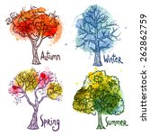watercolor year seasons tree... | Shutterstock .eps vector #262862759