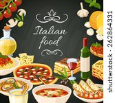 italian restaurant food... | Shutterstock .eps vector #262864331