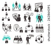 teamwork icons set with sketch... | Shutterstock .eps vector #262864391