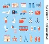 icons set of summer vacation ... | Shutterstock .eps vector #262865441