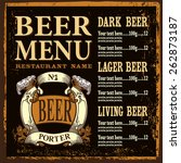 menu with beer label and place... | Shutterstock .eps vector #262873187