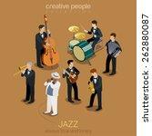 jazz music band flat 3d web... | Shutterstock .eps vector #262880087