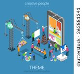flat 3d isometric mobile theme...