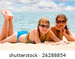 two playful teenager girls at... | Shutterstock . vector #26288854